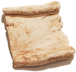 sculpture de céramique d'un parchemin vierge