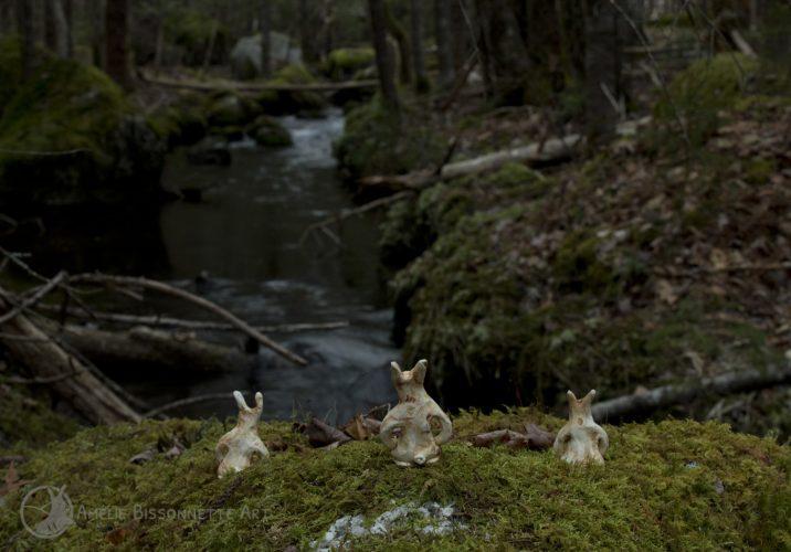 trois petits lapins anthropomorphes à genou face à un ruisseau au coucher du soleil