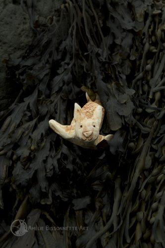 lapin-sirène au visage espiègle qui glisse à travers les algues
